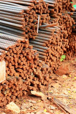 rigid: Stack of steel reinforcement rods for construction Stock Photo