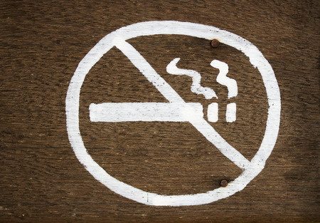 abstain: Do not smoke signs. Stock Photo