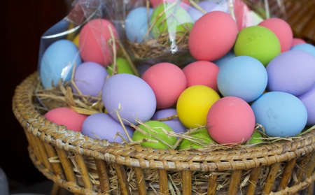 Preserved of colorful eggs at the market