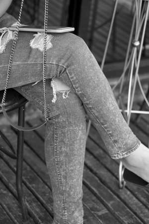 torn jeans: Blue torn jeans texture