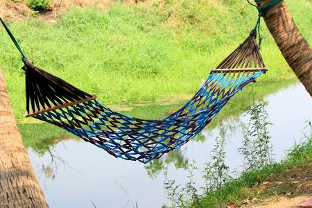 hammock: Rope hammock in nature Stock Photo