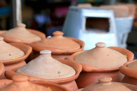 earthenware: Earthenware brown - for dessert Thailand. Stock Photo