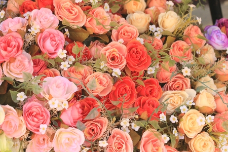 Beautiful vintage roses of artificial flowers photo
