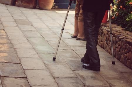 crippled: blurred men crippled leg
