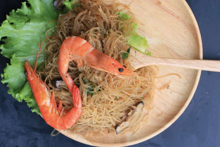 vermicelli: Shrimp with vermicelli - chinese food Stock Photo