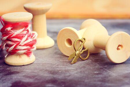 bobbin: Vintage wooden bobbin thread