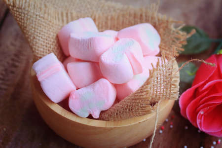 marshmallows: pink marshmallows and red rose