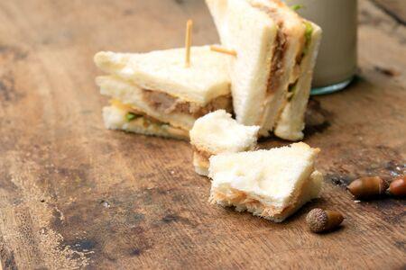 sanwich: tuna sanwich and soy milk