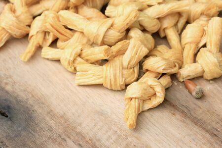 bean curd: dried bean curd on wood vintage