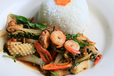 peppery: basil fried rice spicy shrimp seafood