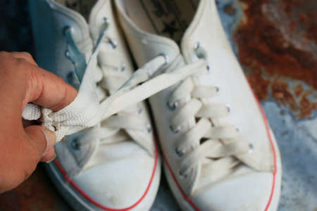 dirty feet: White sneakers