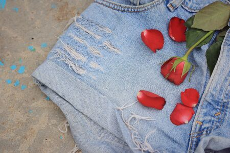 torn jeans: Blue torn jeans Stock Photo