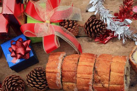 yule log: Chocolate cake yule log Stock Photo