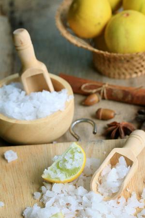 lemon sliced with salt Archivio Fotografico