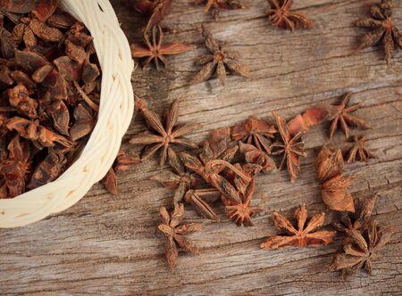 anise: star anise and cinnamon Stock Photo