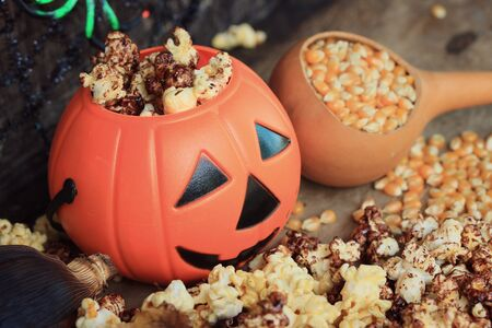popcorn kernel: popcorn with seed halloween Stock Photo
