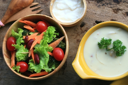 soup with vegetable salad Stock Photo