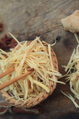 fresh ginger: Sliced with fresh ginger Stock Photo