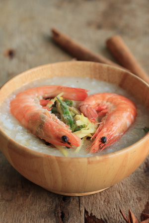 chinese meal: rice porridge with shrimp