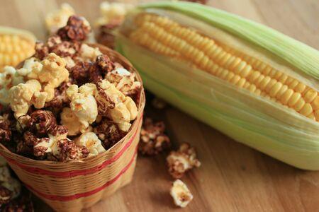 healthy snack: tasty popcorn and fresh corn