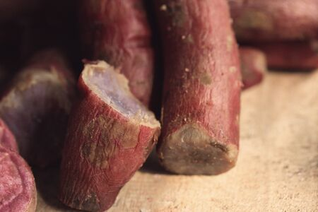 yam: steamed yam sweet red Stock Photo