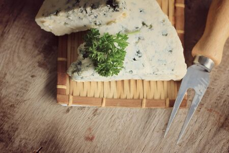 parsley: Blue cheese with parsley Stock Photo