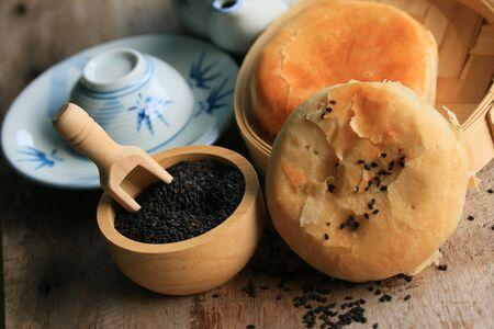 oriental poppy: Festival moon cake with black sesame