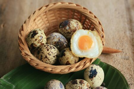 japanese quail: A lot fried quail eggs