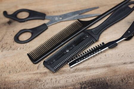 hair cutting: Total hair cutting shears Stock Photo