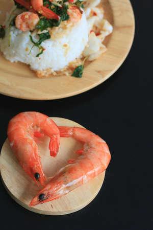 peppery: shrimp seafood basil rice Stock Photo