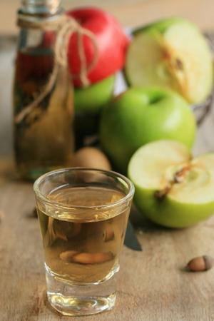 juice glass: apple grren with juices Stock Photo