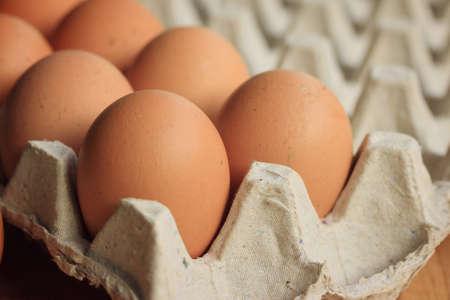 egg box: fresh yolk egg box Stock Photo