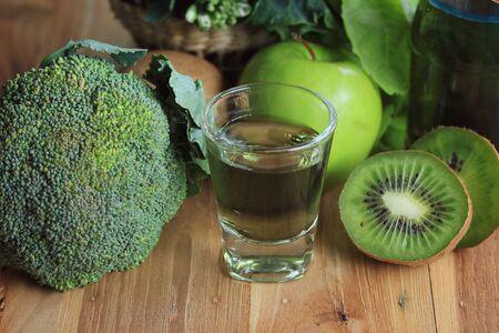 healthier: mix vegetable juices green Stock Photo