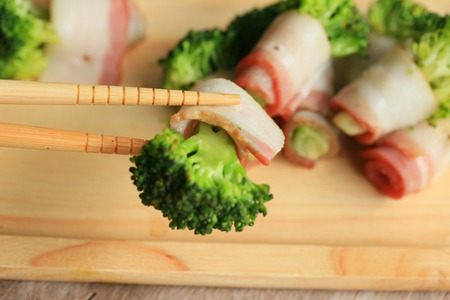 wrapped: Bacon wrapped vegetables broccoli