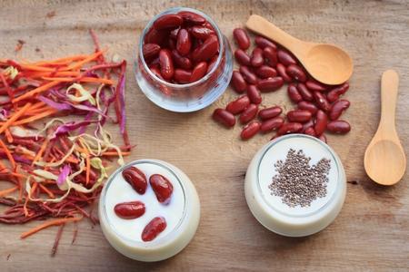 red bean: yogurt red bean with milk Stock Photo