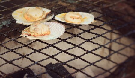 scallops: Scallops grilled butter cheese