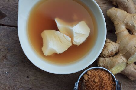 fresh ginger: soybean curd and fresh ginger