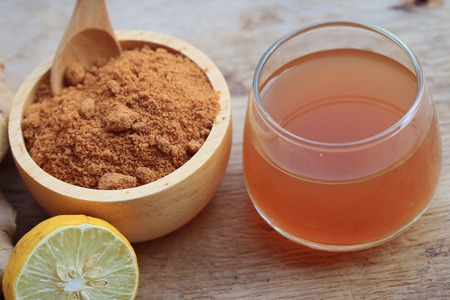 Ginger juice with sugar Stock Photo