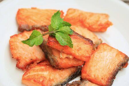 grey mullet: fired salmon - japan food