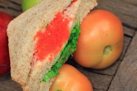 tuna mayo: Seaweed salad and sandwich