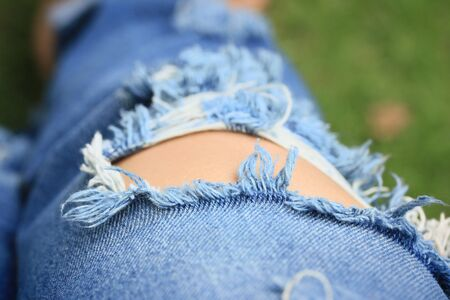 Jeans torn Stock Photo