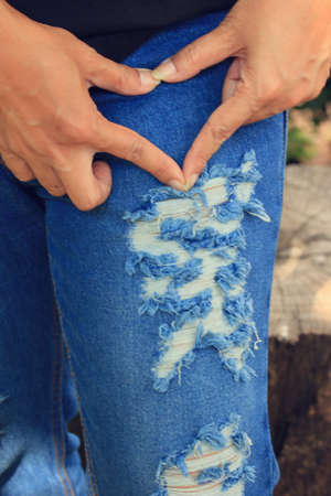 torn: Jeans torn Stock Photo