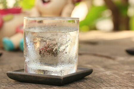 ice water: Drinking water with ice Stock Photo