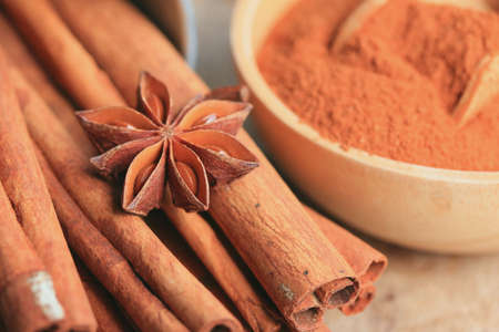 cinnamon powder with sticks Stock Photo
