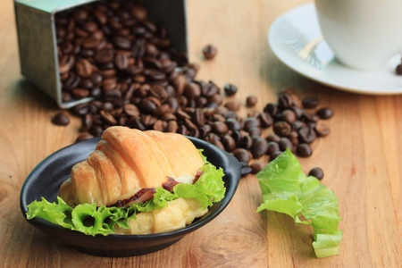 croissant with hot coffee Stock Photo