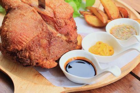 Deep Fried Pork Knuckle Stock Photo