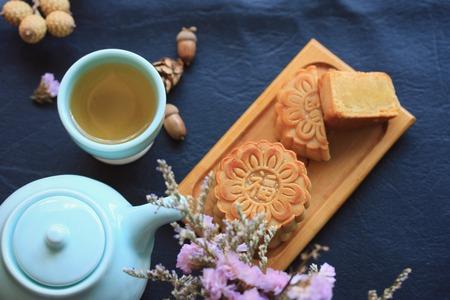 Festival moon cake and hot tea - Chinese cake