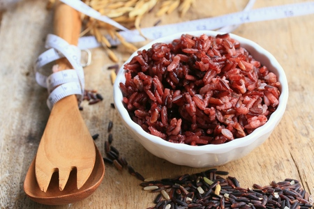 cooked red rice and raw