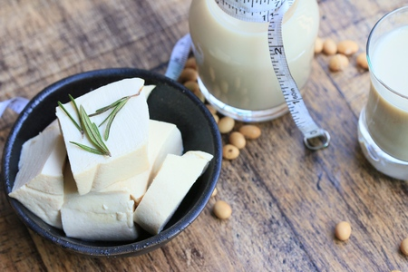 soy milk with soybean Stock Photo