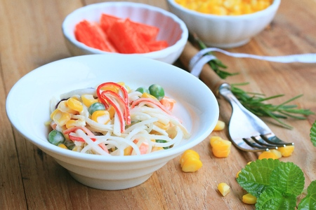japanese cookery: salad with crab sticks
